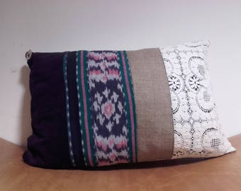 Small cushion patchwork lace and velvet Wax & Line