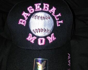 Baseball Mom Hat with Rhinestones