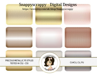 CU4CU, Photoshop Styles, PS Styles, Photoshop, Digital PS Styles, Commercial Use, Instant Download,  Precious Metallic PS Styles