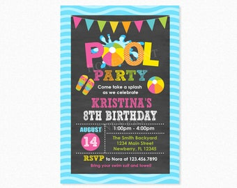 Pool Party Birthday Invitation, Pool Party Invite, Girl, Personalized, Printable or Printed