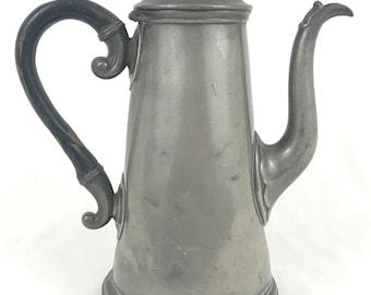 Antique Victorian Britannia Metal Pewter Coffee Pot, Tall Form, Wooden Handle, James Dixon, Unique Antique, Farmhouse Display, Rare Antique