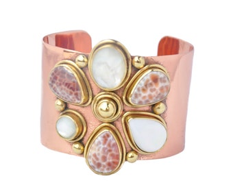 Leopardina Bracelet with Mother of Pearl Bangle Exclusive Design