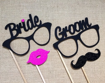 Bride and Groom Glasses Photo Booth Props . Wedding Photo Booth Props . Bride and Groom Eyeglasses . Mustaches and Lips . Glitter . Set of 4