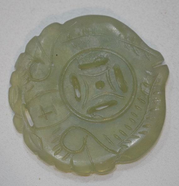Beads Chinese Serpentine Light Green Medallion Pendant Vintage 50mm