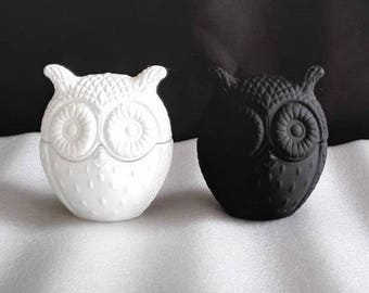 Baby Owl | Soy Wax Candle | Home Decor | Candle | Matte Black | White