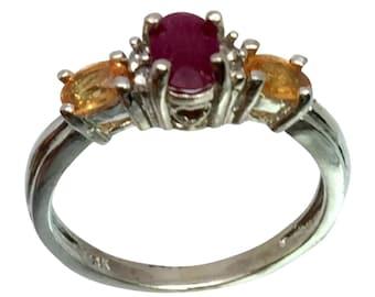 14k Ruby, Garnet & Diamonds Ring, W-Y-R, Free Sizing