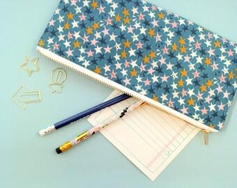 Star Zipper Pouch, Star Gift, Teal Pencil Pouch, Stars Pencil Pouch, Pencil Case, School Supply Holder, Pen Case, Makeup Brush Holder