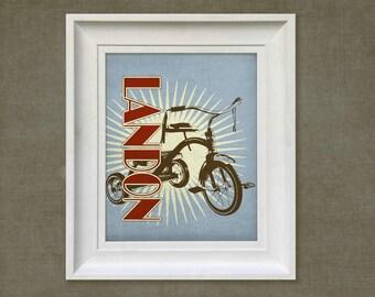 Nursery Wall Art - Retro Tricycle, 8x10 Personalized Print, Baby Room Decor