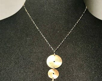 Disks drops with red quartz on sterling silver necklace