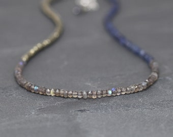 Labradorite, Iolite & Pyrite Necklace. Beaded Blue Gemstone Choker. Long Layering Necklace. Sterling Silver, Rose or Gold Filled. Jewellery