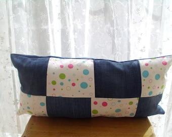 Denim Patchwork Cushion Pillow, Denim pillow case, Denim Pillow cover, Recycled denim, gift for home
