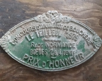 Vintage French agricultural farming beef cattle cow livestock winner metal prize trophy plaque agriculture farm prize 1979 / English Shop