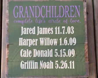 Custom Grandchildren Pallet Sign