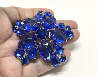 Vintage Shades of Blue Rhinestone Flower Brooch