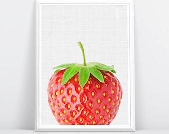 Strawberry Print, Strawberry Art, Strawberry Photo, Strawberry Photography, Strawberry, Summer Print, Summer Art, Wall Art, Wall Print