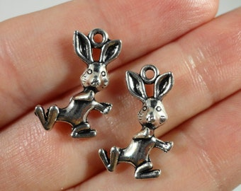 Easter Bunny Charms 18x11mm Antique Silver Rabbit Charms, Easter Bunny Pendants, Metal Charms, Animal Charms for Jewelry Making 10pcs