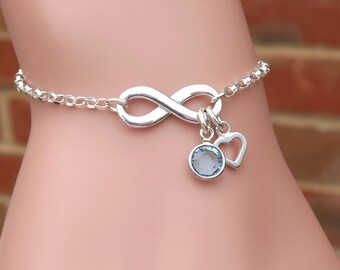 Personalised Silver Infinity Bracelet, Sterling Silver Friendship Bracelet, Infinity Jewelry, Birthstone Bracelets, Figure Eight Bracelet
