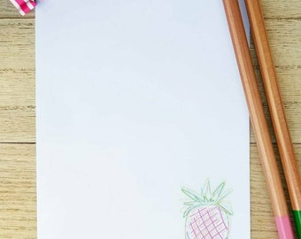 Summertime Pineapple, Hand drawn, Handmade, Colorful, Notepad