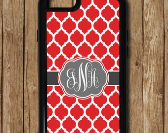 Red iPhone Case, Black &  Red iPhone 6 Plus phone case, Red Monogram Case, Personalized iPhone 7 case, georgia gift, texas tech