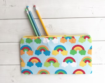 Rainbows Zipper Pouch  Pencil Case Gift For Her School Supplies Student Gift Purse Organizer Makeup Bag Gift For Girls