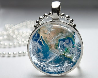Planet Earth Round Pendant Necklace with Silver Ball or Snake Chain Necklace or Key Ring
