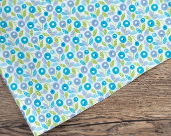 Laminated Cotton Fabric - Leafy Floral Blue - By the Yard 87023