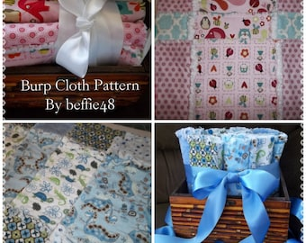 Make a Baby Gift, Burp Cloth Pattern Tutorial, Easy, Rag Style, w Photos, pdf.