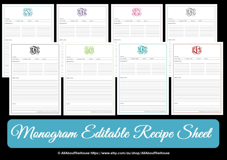 Monogram recipe sheet editable recipe card preppy template zoom alramifo Gallery