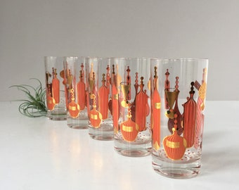 Mid Century Highball Glasses, Vintage 1960s Cocktail Glasses, Set of 5 Retro Coral and Gold Barware, Bar Cart Decor, Liquor Bottle Motif