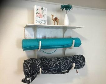 Double yoga mat holder with shelf