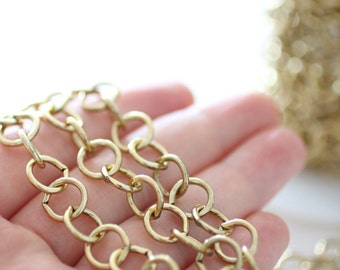 10mm gold brass chain, large link chain, brass cable chain, round brass chain, necklace chain, antique gold brass chain, gold chain, chain