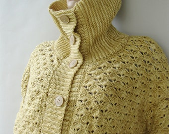Crochet Cardigan, Cashmere Cardigan, Cardigans, Yellow Cardigan, Cardigan Women, Crocheted Cardigans, Cardigan Sweaters, Available in M/L