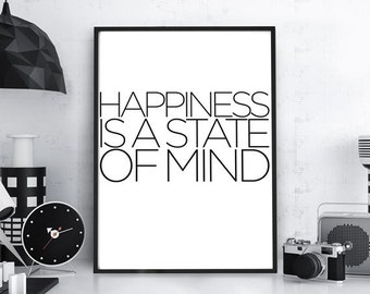 "Typography Poster,  ""Happiness is a State of Mind"",Typography Wall Art, Typography Art, Typographic Print, Home Decor, Wall Hanging, Minimal"