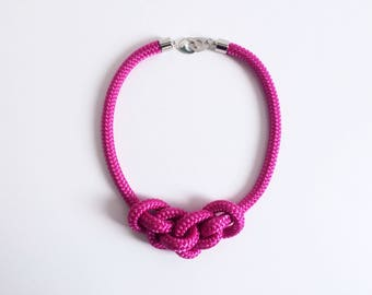 Pink Fuchsia Rope Necklace