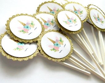 12 Gold Unicorn Face Cupcake Toppers, Unicorn Theme, Gold Glitter, Unicorn Party, First Birthday, Unicorn Party, Pink Unicorn, Rainbow Party