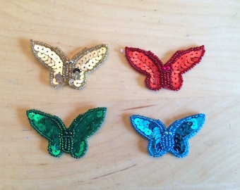 Vintage 80s Butterfly Appliques, Set of 4, Red, Green, Gold, Turquoise