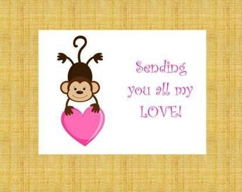 Monkey Holding a Heart Personalized Stationery (set of 10 folded notes)