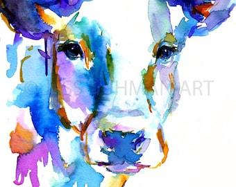 Cow Watercolor Print, Animal Watercolor, Cow Painting, Print of Cow Painting, Farm Animal Art, Nursery Animal Art, Cow Illustration