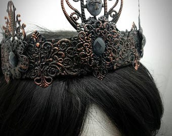 Edwardian copper black cross crown, crown in copper Black with cabochons and small crosses