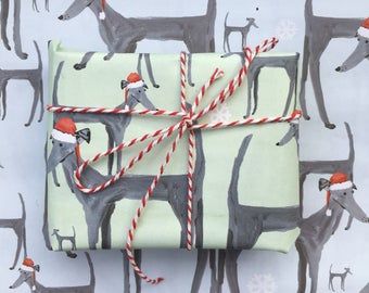 Christmas Dog wrapping paper, greyhound paper, dog xmas wrap, dog paper, dog gift, dog lover, greyhound gift, dog wrap, made by harriet, dog
