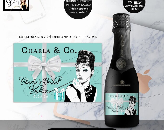 "Champagne Labels Mini Audrey Hepburn Party Theme, Bridal Shower Party Decorations Favors, Stickers, Labels, Breakfast at, 3x2""/9 Per Sheet"
