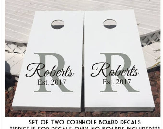 Custom cornhole decals set of two wedding last name decals established year personalized decals for corn