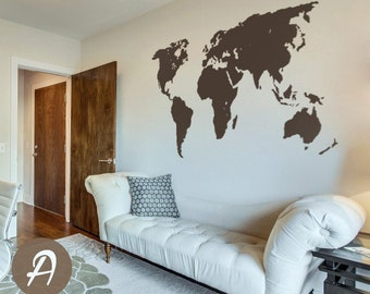 World map watercolor decal watercolor world map wall world map decal temporary wall decor office wall decal world map wall sticker wall art decor large world map decal ak003 gumiabroncs Image collections