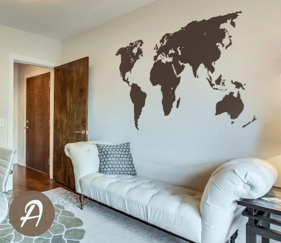 1 Bedroom Apartment Setup Empty Bedroom Background Bedroom Romance Images Bedroom Apartment: World Map Decal Temporary Wall Decor Office Wall Decal World