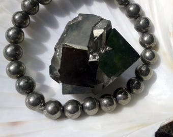 Round beads 8mm in Pyrite