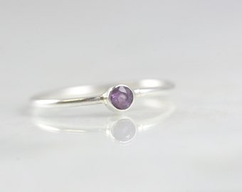 Birthstone Ring February - Stacking Rings Amethyst - Stackable Mom Ring - February Gemstone Ring - Amethyst Ring Women - Mothers Ring Stack