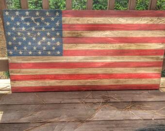 Distressed Wooden American Flag 38x20 / Rustic Wall Art / Patriotic Home Decor/ Wood Flag