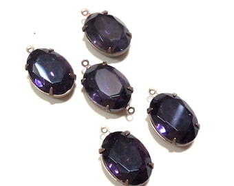 Vintage 18x13mm Amethyst Purple Gold Foiled Faceted Pointed Back Oval Glass Jewels Cabs In settings loop