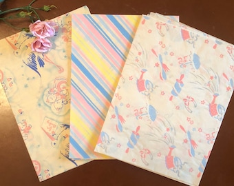 3 Sheets Brand New Old Stock 1950s Vintage Baby Shower & Wrapping Paper Mid Century Gift Wrap Pink Blue Yellow