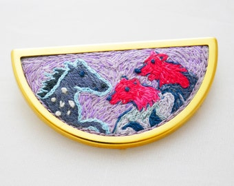Bears and horse vibrant embroidered brooch